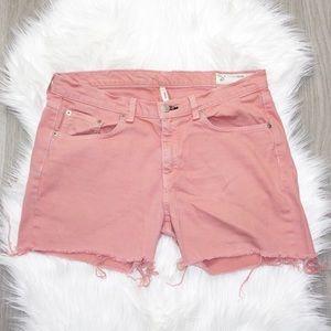 Rag & Bone Pink Raw Hem Shorts Plus Size 32